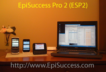Photo of EpiSuccess 2 (ESP2) software running on laptop computer and smart phones